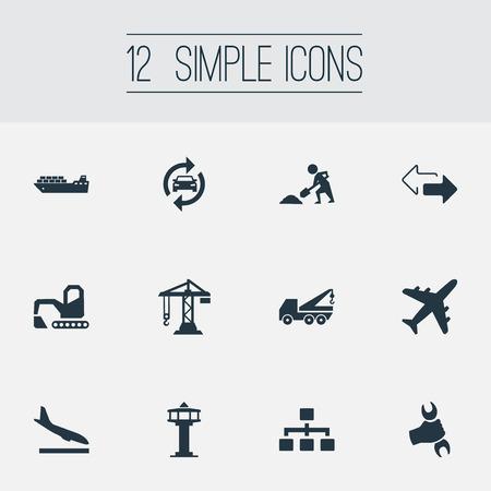 Vector illustratie Set van eenvoudige stad iconen. Elementen hefapparatuur, bouwkraan, omgekeerde richtingen en andere synoniemen-reconstructie, graafmachine en luchthaven.