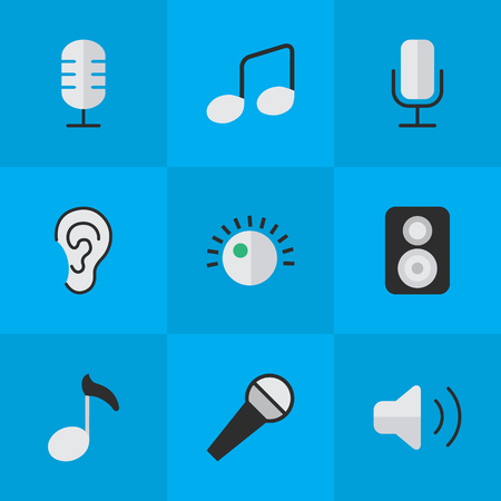 speakers: Vector Illustration Set Of Simple Melody Icons. Elements Record, Regulator, Mike And Other Synonyms Regulator, Hear And Microphone.