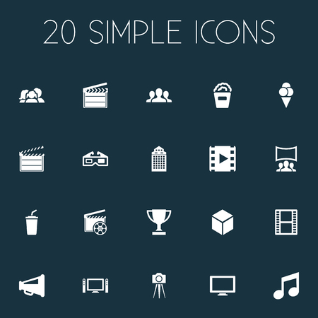 Vector Illustration Set Of Simple Cinema Icons. Elements Sorbet, Cardboard, Reel And Other Synonyms Director, Production And Montage. Illustration