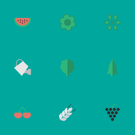 Vector Illustration Set Of Simple Gardening Icons. Elements Flower, Berry, Corn And Other Synonyms Watering, Tree And Wood.