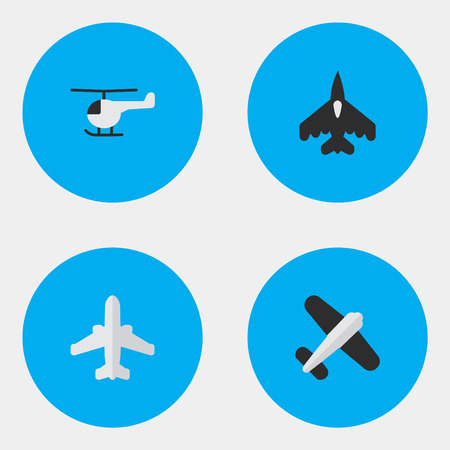 Vector Illustration Set Of Simple Plane Icons. Elements Aviation, Airliner, Copter And Other Synonyms Chopper, Airplane And Vehicle.