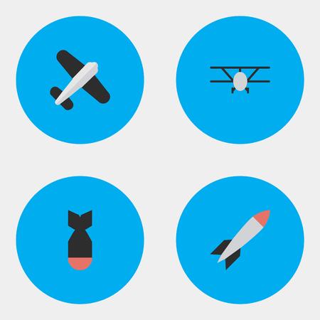 벡터 일러스트 레이 션 간단한 비행기 아이콘의 집합입니다. 요소 항공, 로켓, 비행기 및 기타 동의어 로켓, 공예 및 비행기. 일러스트