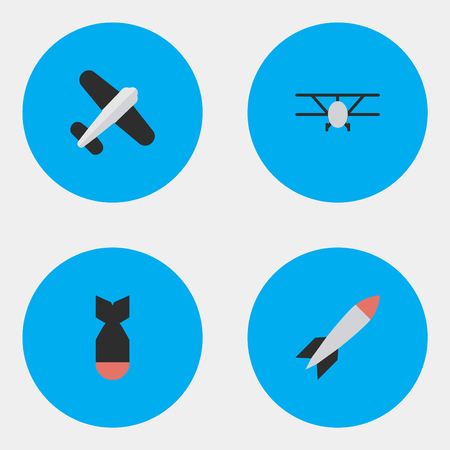 Vector Illustration Set Of Simple Airplane Icons. Elements Aviation, Rocket, Airplane And Other Synonyms Rocket, Craft And Plane.