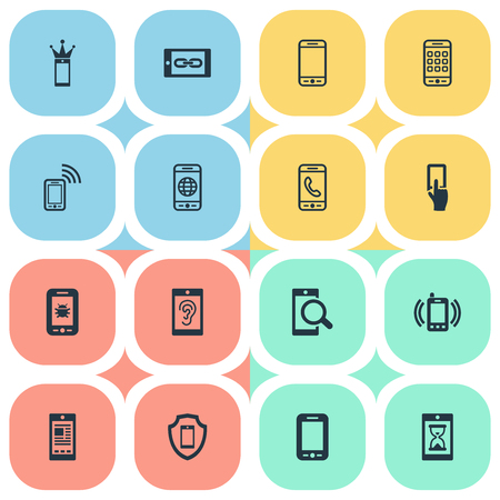Vector Illustration Set Of Simple Mobile Icons. Elements Using A Telephone, Internet On Phone, Investigate On Phone And Other Synonyms Waiting, Incoming And Link.