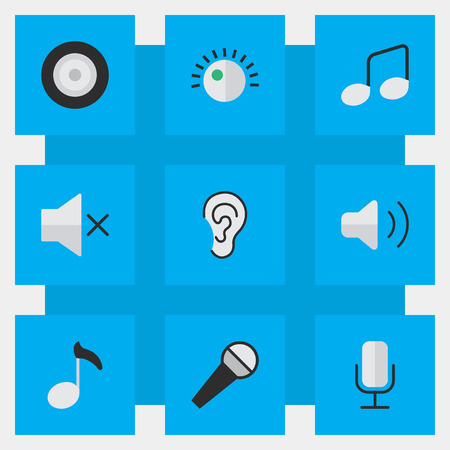 Vector Illustration Set Of Simple Sound Icons. Elements Mike, Volume, Regulator And Other Synonyms Speaker, Ear And Regulator.