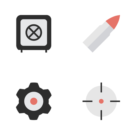 Vector Illustration Set Of Simple Crime Icons. Elements Target, Cogwheel, Shot And Other Synonyms Mechanical, Cogwheel And Target.