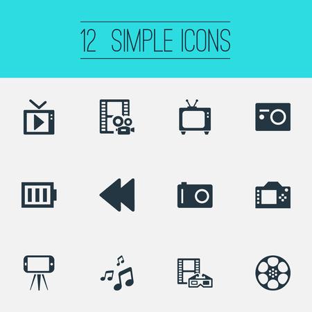 Vector illustratie Set van eenvoudige media iconen. Elementen Film, multimedia, fotoapparatuur en andere synoniemen televisie, multimedia en 3D. Stock Illustratie