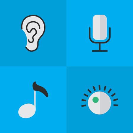 Vektor-Illustrations-Satz einfache Ikonen. Elemente hören, aufnehmen, Regler und andere Synonyme Hinweis, Zeichen und Musik. Standard-Bild - 84402962