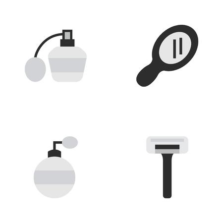 벡터 일러스트 레이 션 간단한 미용사 아이콘의 집합입니다. 요소 면도기, 유리, 향수 및 기타 동의어 Speculum, 향수 및 향수.