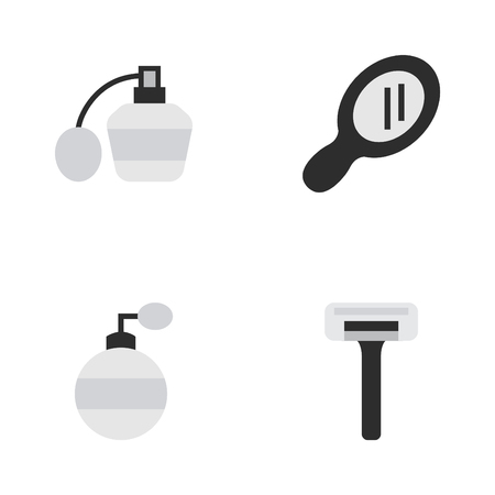 Vector Illustration Set Of Simple Hairdresser Icons. Elements Shaver, Glass, Perfume And Other Synonyms Speculum, Fragrance And Perfume.