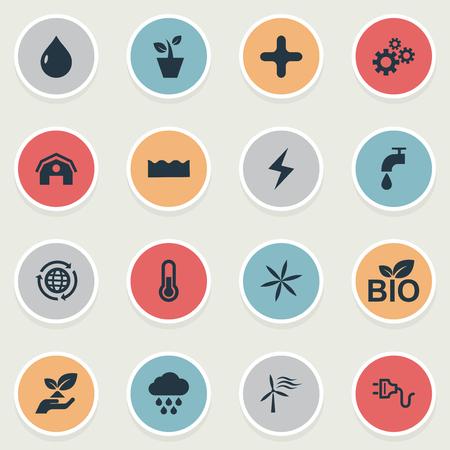 벡터 일러스트 레이 션 간단한 전원 아이콘의 집합입니다. 십자가, Cloudburst, 헛간 및 기타 동의어 크로스, 헛간 및 온도계입니다. 일러스트