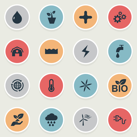 Vector Illustration Set Of Simple Power Icons. Elements Cross, Cloudburst, Barn And Other Synonyms Cross, Barn And Thermometer. Stok Fotoğraf - 84402964