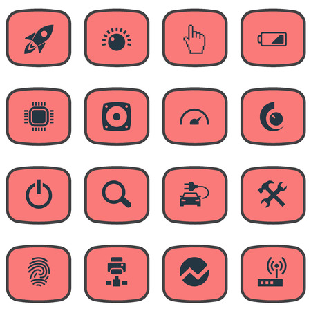 Vector Illustration Set Of Simple Device Icons. Elements Modem, Finger, Thumbprint And Other Synonyms Magnifier, Speedometer And Battery. Illustration