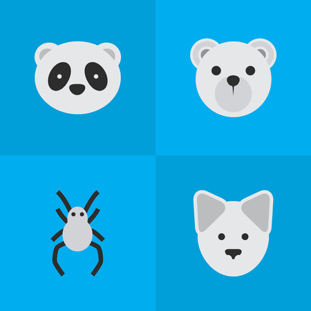 Vector Illustration Set Of Simple Fauna Icons. Elements Tarantula, Bear, Wolf And Other Synonyms Wolf, Panda And Tarantula. Illustration