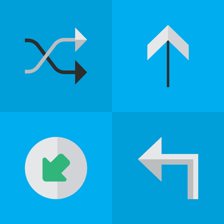 Vector Illustration Set Of Simple Indicator Icons. Elements Northwestward, Orientation, Chaotically And Other Synonyms Turn, Upward And Arrow.