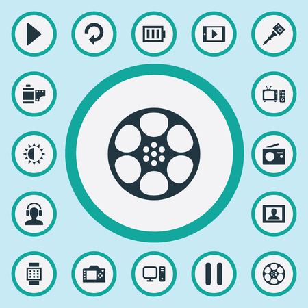 Vector Illustration Set Of Simple  Icons. Elements Tv, Brightness, Smartphone And Other Synonyms Battery, Refresh And Monopod.