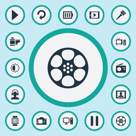 Vector illustratie Set van eenvoudige pictogrammen. Elementen Tv, helderheid, smartphone en andere synoniemen Accu, Refresh And Monopod. Stock Illustratie