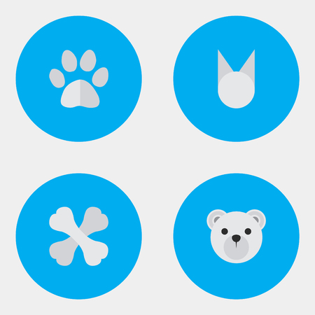 Vector Illustration Set Of Simple Zoo Icons. Elements Panda , Foot , Skeleton Synonyms Paw, Animal And Skeleton.