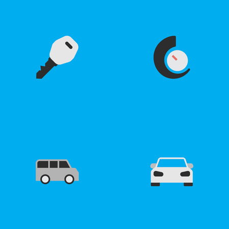 Vector Illustration Set Of Simple Traffic Icons. Elements Open, Sport, Minibus And Other Synonyms Chronometer, Minibus And Lock.