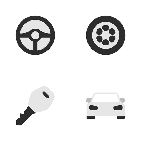Vector Illustration Set Of Simple Transportation Icons. Elements Steering, Open, Wheel And Other Synonyms Sport, Wheel And Circle. Ilustracja