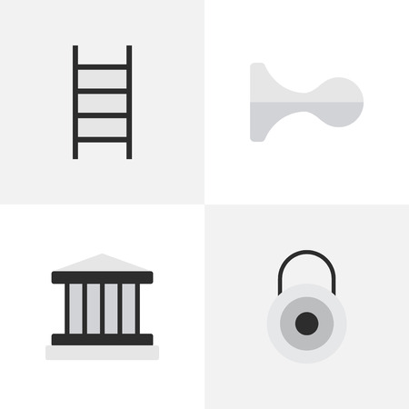 Vector Illustration Set Of Simple Crime Icons. Elements Lock, Grille, Stairs And Other Synonyms Climbing, Key And Lock. Illustration