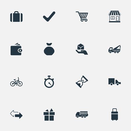 単純な配信アイコンのベクター イラスト セット。要素貨物トラック、バン、完全かつ他類義語の方向、手荷物、ストア。  イラスト・ベクター素材