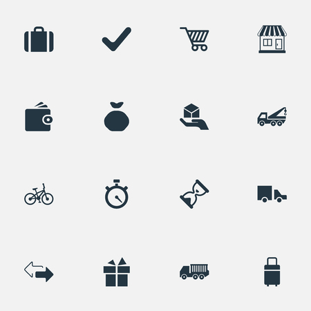 Vector Illustration Set Of Simple Delivery Icons. Elements Cargo Truck, Van, Complete And Other Synonyms Directions, Baggage And Store. Illustration