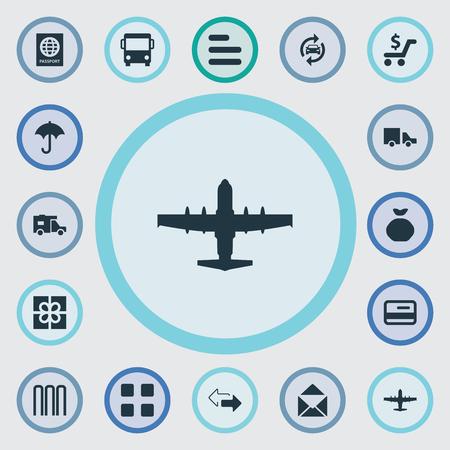 벡터 일러스트 레이 션 간단한 운반 아이콘의 집합입니다. 요소 선물, 우편, 자동차 및 기타 동의어 은행, 아웃소싱 및 항공.