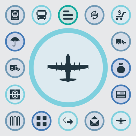Vector Illustration Set Of Simple Conveyance Icons. Elements Gift, Mailing, Autobus And Other Synonyms Bank, Outsource And Aviation.
