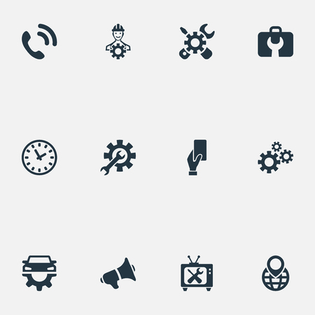 Vector Illustration Set Of Simple Information Icons. Elements Engineering, Toolbox, Notice And Other Synonyms Repair, Cellphone And Announcement. Illustration
