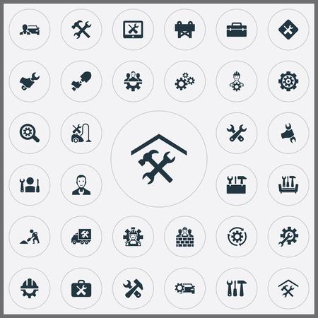 Illustrazione vettoriale Set di icone semplici. Opzione Elementi, Lente di ingrandimento, Strumenti e altri sinonimi Riparazione, rotazione e furgone. Vettoriali