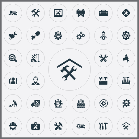Vector Illustration Set Of Simple  Icons. Elements Option, Magnifier, Tools And Other Synonyms Mending, Rotate And Van.