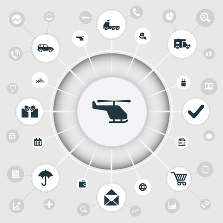 Vector Illustration Set Of Simple Distribution Icons. Elements Birthday Parcel, Shipment Transport, Market Cart And Other Synonyms Delivery, Bicycle And Trolley.