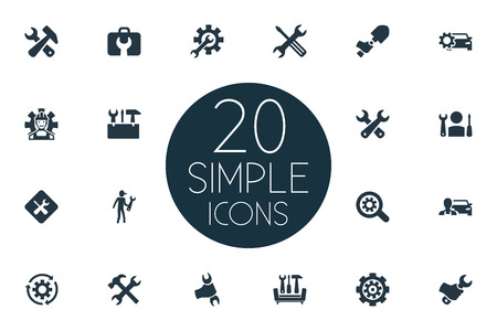 Vector Illustration Set Of Simple Repairing Icons. Elements Magnifier, Mechanic, Fix And Other Synonyms Car, Digger And Worker. Illusztráció