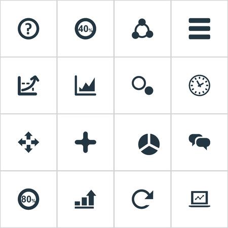 簡単な図のアイコンのベクトル イラスト セット。要素を見て、移動、再現性と他の類義語を追加、テキストとノート パソコン。