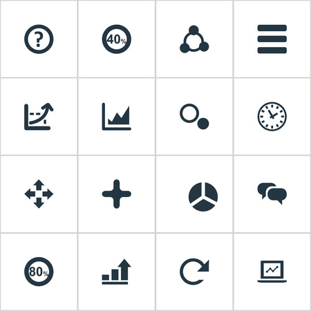 Vector Illustration Set Of Simple Diagram Icons. Elements Watch, Move, Repeatability And Other Synonyms Add, Text And Laptop.