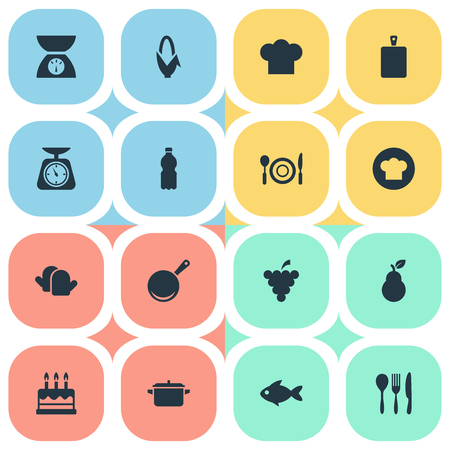 Vector Illustration Set Of Simple Food Icons. Elements Maize, Saucepan, Vineyard And Other Synonyms Kitchen, Mineral And Grain.