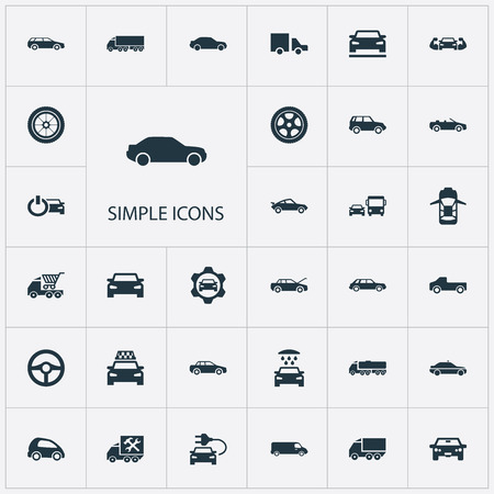 Vector Illustration Set Of Simple Car Icons. Elements Carriage, Siren, Ride And Other Synonyms Shipping, Transit And Delivery.