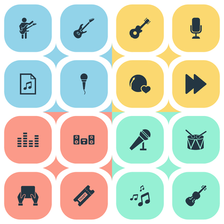Vector Illustration Set Of Simple Music Icons. Elements Fiddle, File, Shellac And Other Synonyms Megaphone, Note And Orchestra.