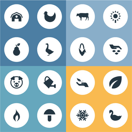 Vector Illustration Set Of Simple  Icons. Elements Gardening, Mallard, Spring And Other Synonyms Champignon, Goose And Protection.