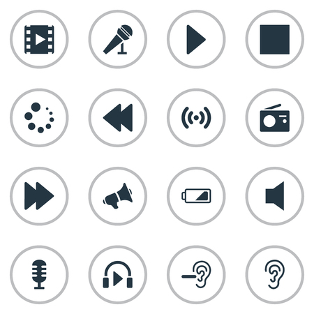 Vector Illustration Set Of Simple Sound Icons. Elements Mike, Quieted, Stand Up Synonyms Play, Volume And Next. Иллюстрация