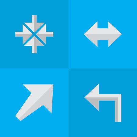 単純なポインター アイコンのベクター イラスト セット。要素 Everyway、南西、内側と南西、左と内心他の同義語。