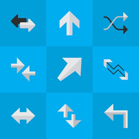 単純なポインター アイコンのベクター イラスト セット。要素の矢印をインポートと、上向きに最大、上方は類義語や方向。