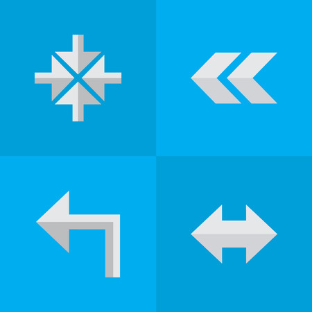 Vector Illustration Set Of Simple Arrows Icons. Elements Everyway, Inside, Back And Other Synonyms Left, Arrow And Rearward. Çizim