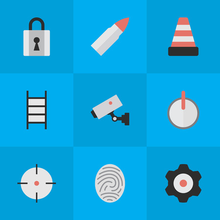 Vector Illustration Set Of Simple Offense Icons. Elements Target, Isolated, Closed And Other Synonyms Safe, Isolated And Lock.