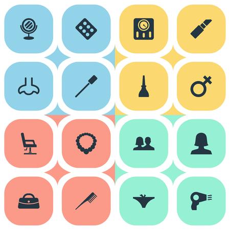 Vector illustratie Set van eenvoudige cosmetica pictogrammen. Elementen nagellak, klanten, wimperborstel en ander synoniemenpaar, pommade en spiegel.