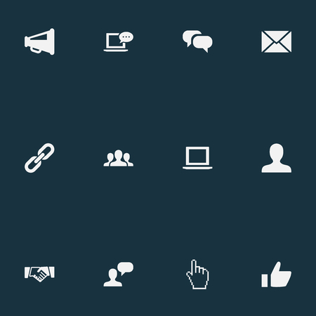 벡터 일러스트 레이 션 간단한 미디어 아이콘의 집합입니다. 요소 팀, 노트북, 새 메일 및 기타 동의어 노트북, 메시징 및 계약.