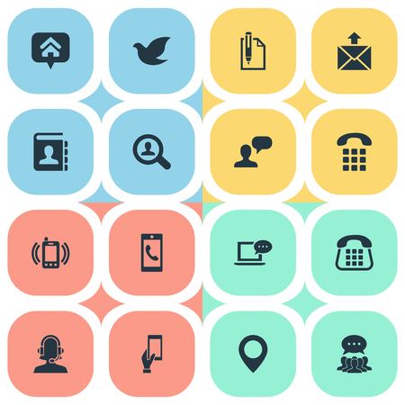 Vector Illustration Set Of Simple Connect Icons. Elements Messaging, Smartphone Calling, Freedom Pigeon And Other Synonyms Comment, Messaging And Incoming.