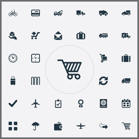 Vector Illustration Set Of Simple Handing Icons. Elements Eviction Vehicle, Mailing, Calendar And Other Synonyms Bag, Hand-Truck And Airport. Иллюстрация