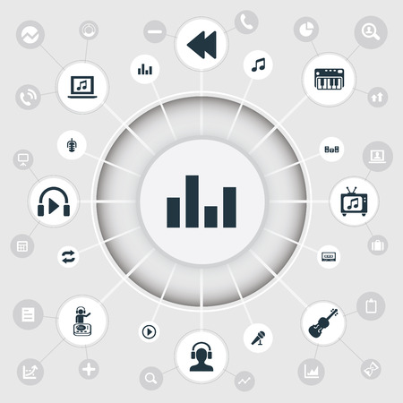 Vector Illustration Set Of Simple Music Icons. Elements Start, Tape, Stabilizer And Other Synonyms Play, Equalizer And Tape.